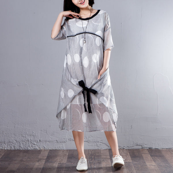 Loose Half Sleeve Stripe Round Neck Casual Dress - Buykud