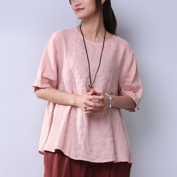 Summer Folded Loose Casual Women Pink Shirt