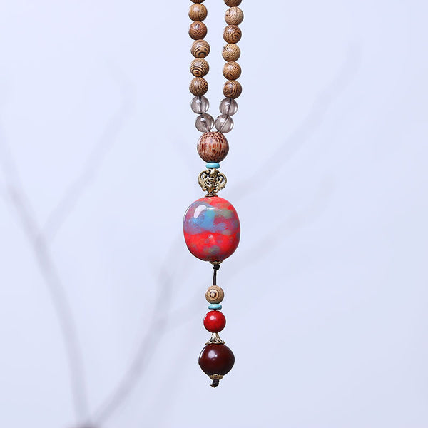 Lovely Accessory Wooden Agate Bead Pendant Necklace - Buykud