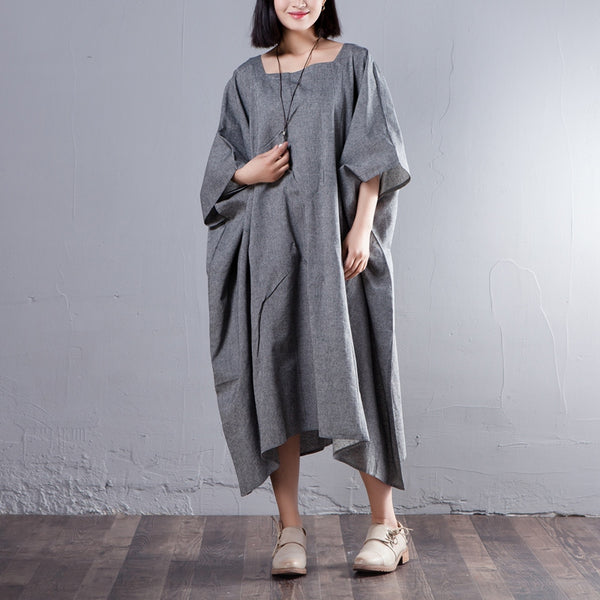 Loose Women Square Collar Three Quarter Sleeve Dress - Buykud