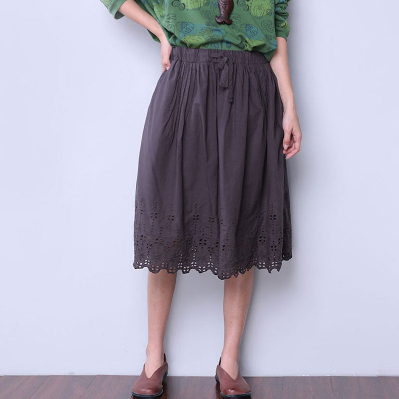 Lacing Hollowed Loose String Cotton Women Causal Gray Skirt