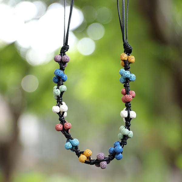 Seven Colors Round Beads Ajustable Leather Chain Necklace