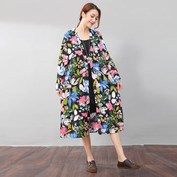 Vintage Floral Printing Ethnic Women Cotton Linen Side Slit Dress - Buykud