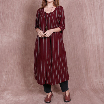 Irregular Round Neck Loose Stripe Red Dress - Buykud