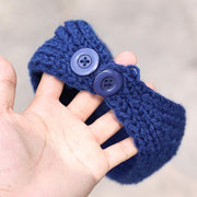 Stylish Knitted Flower With Buttons Hair Bands For Women