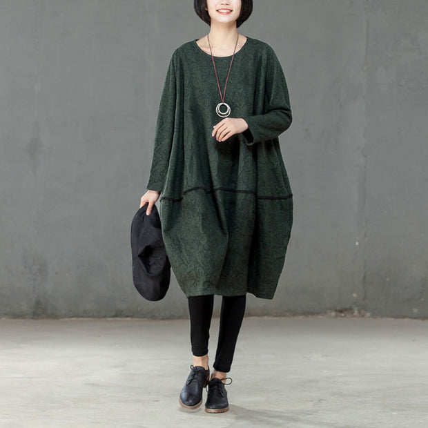 Women Spring Round Neck Long Sleeve Green Dress - Buykud