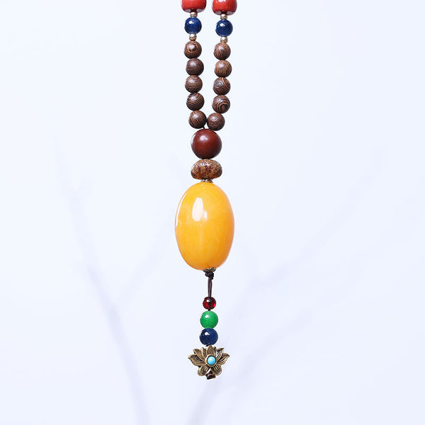 Wooden Chic Agate Bead Pendant Necklace - Buykud