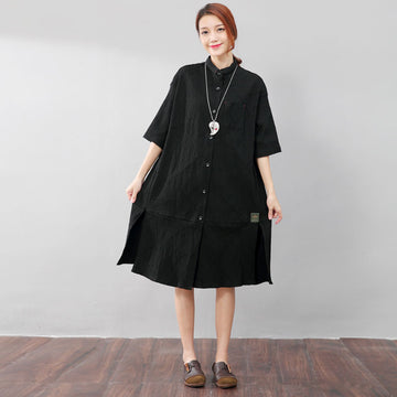 Fashion Polo Collar Single Breasted Back Splicing Women Black Dress - Buykud