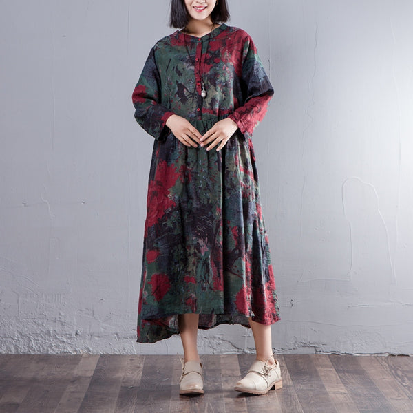 Loose Printed Spring Long Sleeve Cotton Linen Dress - Buykud