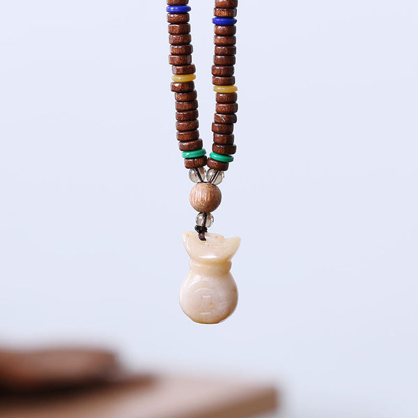 Ethnic Pendant Wooden Beads Women Lucky Necklace - Buykud