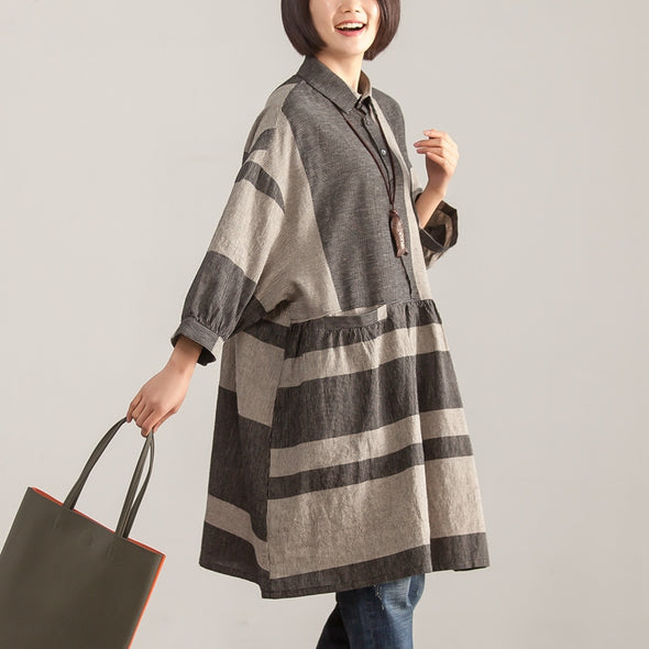 Stripe Loose Polo Collar Long Sleeve Women Dress - Buykud