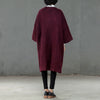 Loose Winter Three Quarter Sleeve Women Wine Red Coat - Buykud