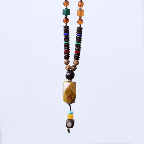 Ethnic Agate Pendant Wooden Beads Women Retro Necklace - Buykud