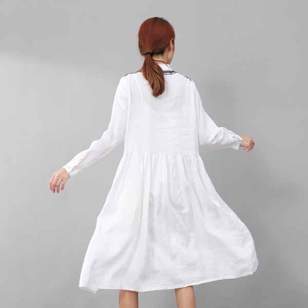 Graceful Women Linen Pleated Embroidered Long Sleeves White Dress - Buykud