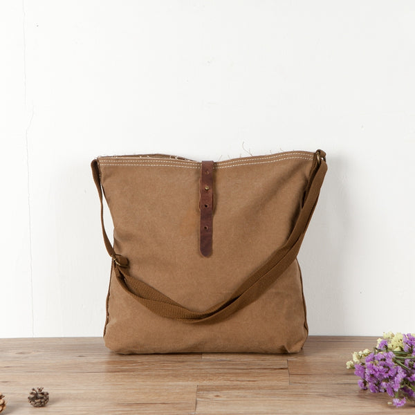 Casual Canvas Khaki Shoulder Bag Handbag