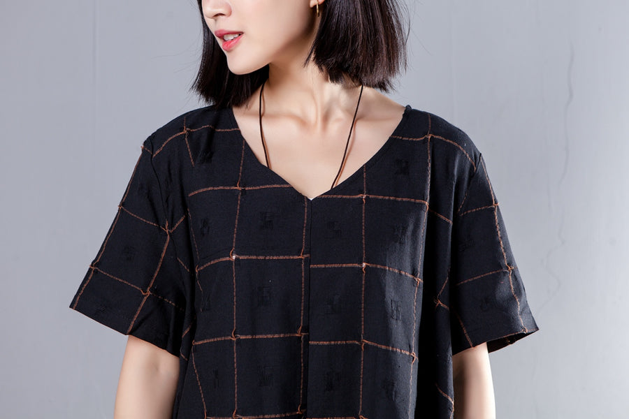 Summer V Neck Short Sleeve Loose Lattice Black Dress - Buykud
