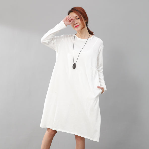 Women Round Neck Long Sleeve Linen Casual White Dress - Buykud