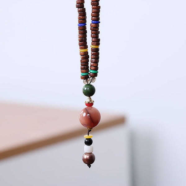 Retro Pendant Wooden Beads Women Ethnic Necklace - Buykud
