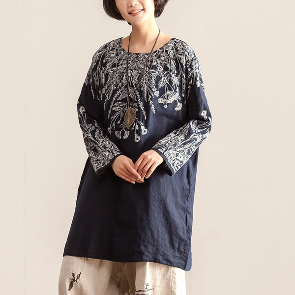 Women Round Neck Long Sleeve Embroidery Blue Shirt