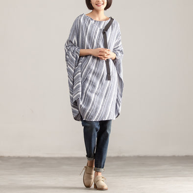 Women Loose Round Neck Stripe Pullover Top - Buykud