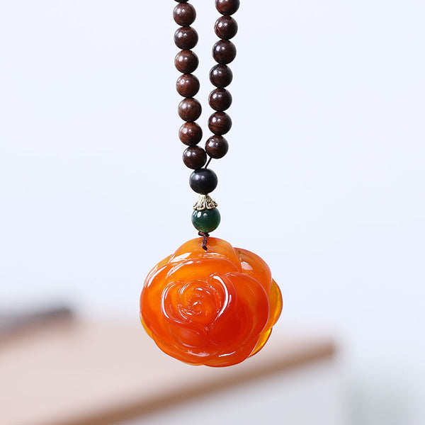 Ethnic Rose Pendant Wooden Beads Women Vintage Necklace - Buykud