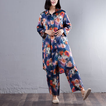 Spring Women Suit Single Breasted Shirt Floral Printed Pant - Buykud