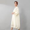 Women Stylish Small Holes Splicing Knitted Beige Sweater Dress - Buykud