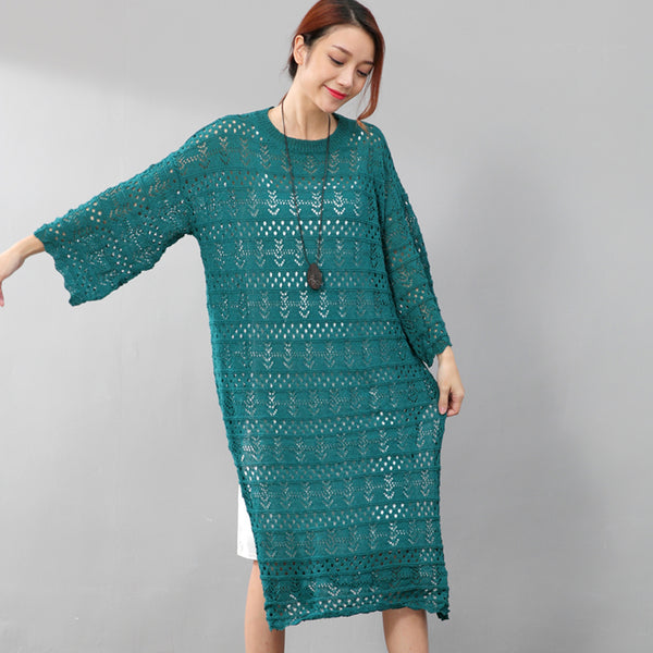 Elegant Women Hollowed Cotton Split Round Neck Green Dress - Buykud