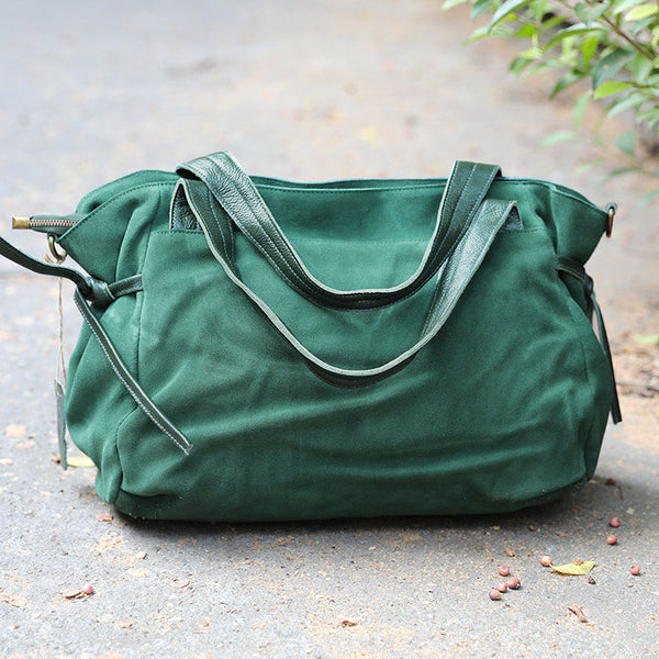 Soft Canvas Leather Splicing Durable Dark Green Shoulder Bag - Buykud