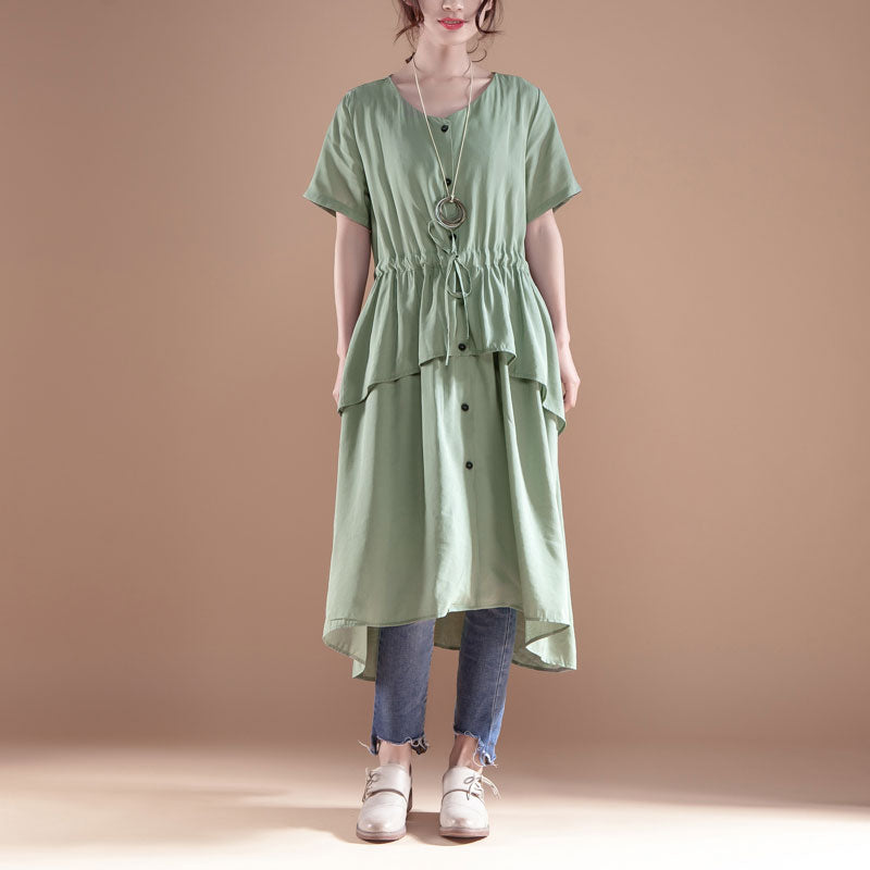 V Neck Short Sleeve Casual Green Single Breasted Dress - Buykud