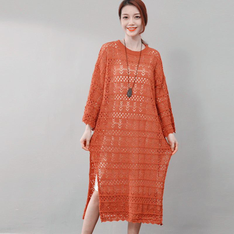Elegant Women Hollowed Cotton Split Round Neck Dress - Buykud
