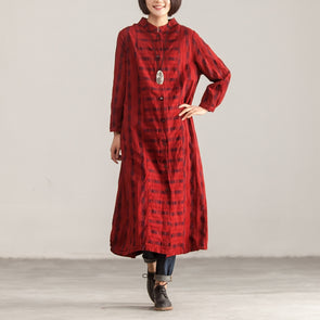 Single Breasted Stand Collar Women Red Long Coat - Buykud