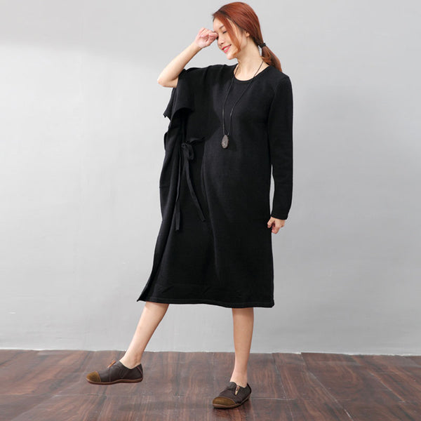 Stylish Design Irregular Sleeve Round Neck Splitting Women Black Dress - Buykud