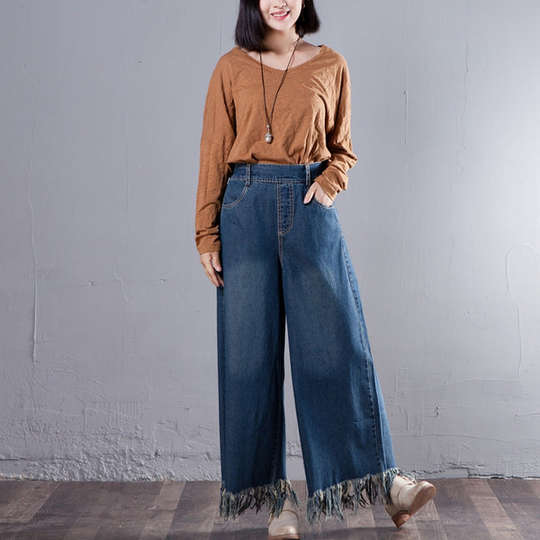 Women Loose Tassel Blue Long Straight Denim Pants - Buykud