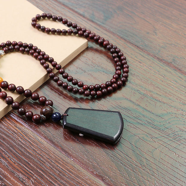 Ethnic Ebony Pendant Wooden Beads Women Vintage Necklace - Buykud