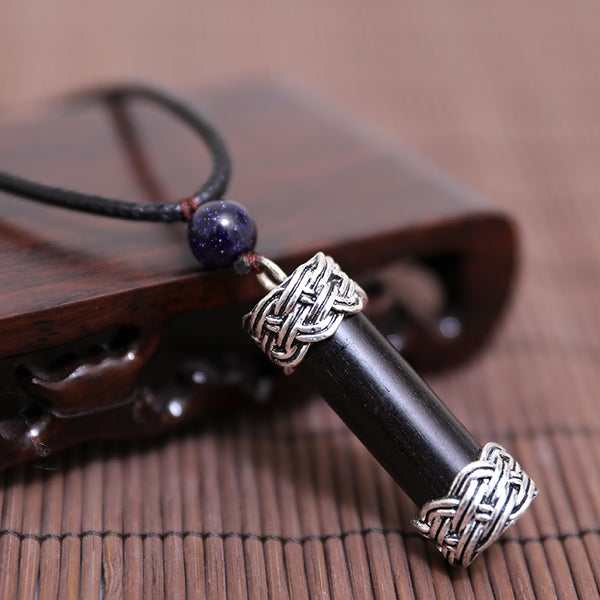 Casual Metal Cylindrical Shape Wood Necklace - Buykud