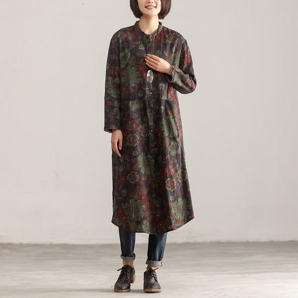 Stand Collar Printed Single Breasted Retro Linen Dress - Buykud