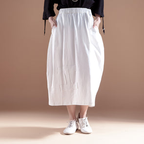 Casual Cotton Linen Women White Skirts - Buykud