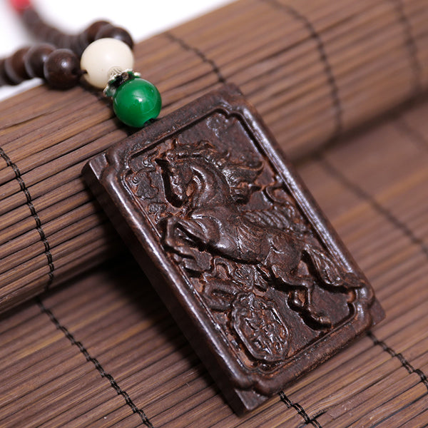Square Inscribed Horse Wooden Necklace - Buykud