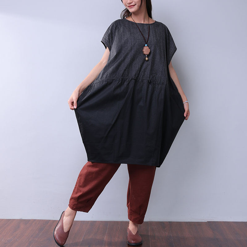 Round Neck Loose Splicing Women Dress - Buykud