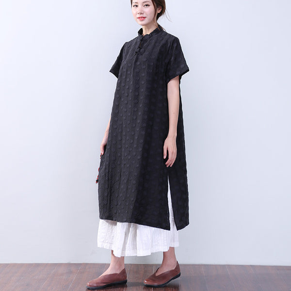 Frog Slit Jacquard Short Sleeves Black Dress - Buykud