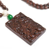 Ethnic Square Inscribed Chinese Characters Pendant Necklace - Buykud