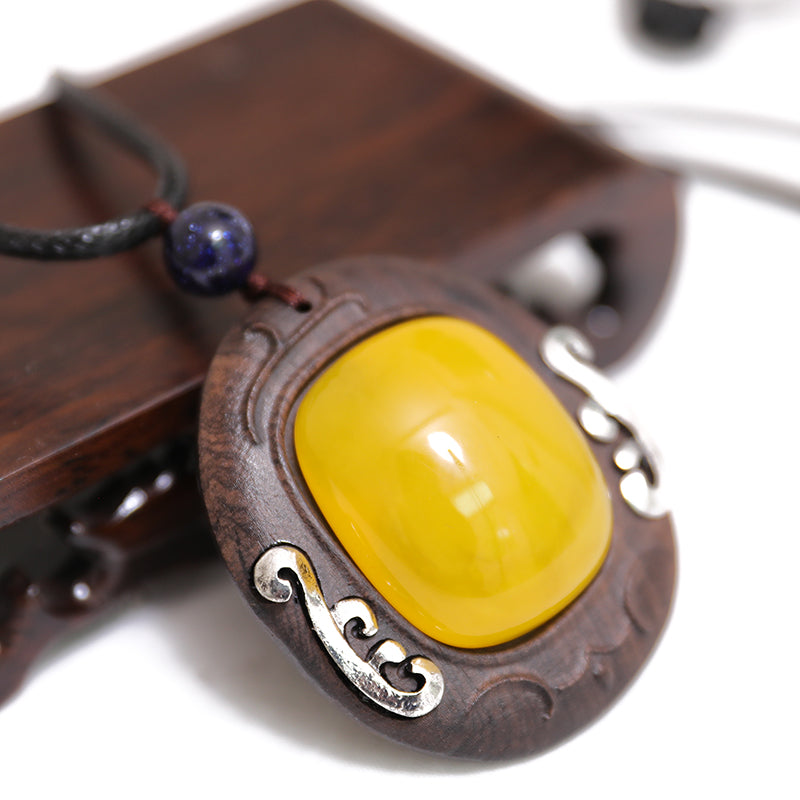 Round Square Wood Metal Trim Leather Chain Necklace - Buykud