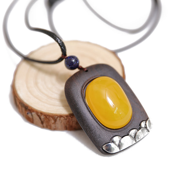 Vintage Square Shape Wood Agate Splicing Pendant Necklace - Buykud