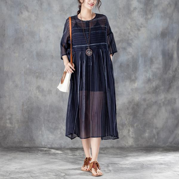 Round Neck Three Quarter Sleeve Pullover Dress