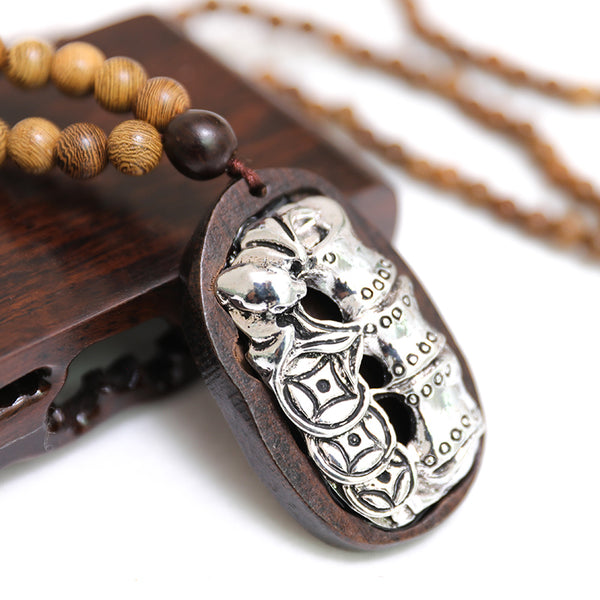 Ethnic Round Beads Wood Metal Splicing Necklace - Buykud