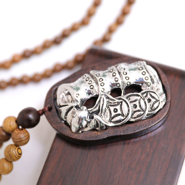 Retro Ethnic Round Beads Wood Metal Splicing Necklace - Buykud