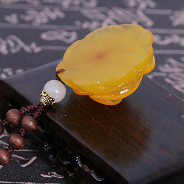 Exquisite Women Retro Beeswax Rose Pendant Wood Beads Necklace - Buykud