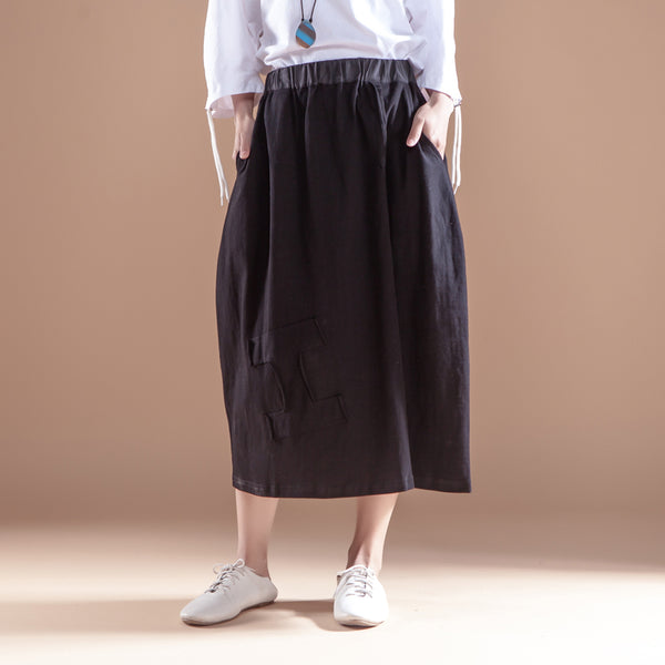 Casual Cotton Linen Women Black Skirts - Buykud