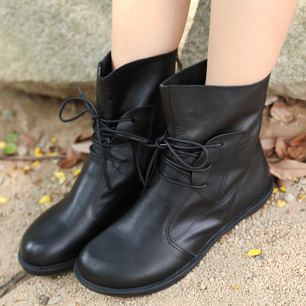 Fashionable Lacing Zipper Black Leather Boots Shoes For Women - Buykud
